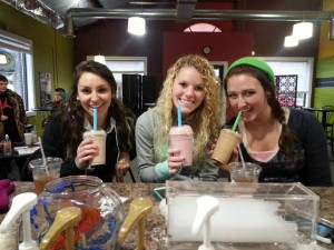 Photos by Joanne Telfer Students enjoy healthy shakes at Revive.