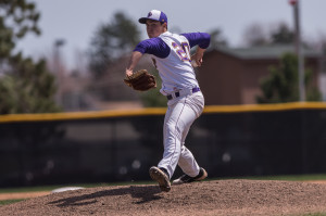 Photo by Jack McLaughlin. J.P. Feyereisen throws a pitch for the Pointers during a game last season.