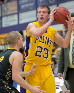 Photo by Jack McLaughlin. Trevor Hass broke the UWSP record for the most points scored in a game with 45.