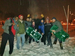 Photo courtesy Residence Hall Association. May Roach residents celebrate their sled race victory at Freeze Fest on Monday.