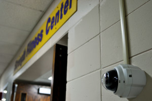 Photo by Emily Hoffmann. A new security camera has been installed outside of the Strength Center.