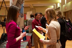 Photo courtesy of University Relations and Communications. Marshfield clinic was among many organizations at the career fair last year.