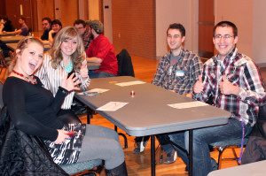 Photo by Morgan Schwantz. Students speed dating on Valentine's Day.