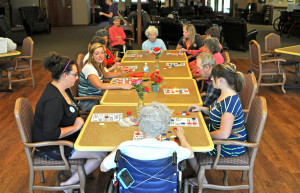 SIEO volunteers play bingo with the residents at North Haven on Sunday.  Photo by Emily Hoffmann.