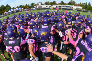 UWSP huddles before the game against North Central. Photo by Jack McLaughlin.