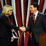 Governor Walker and Mary Burke shake hands. Photo courtesy of Associated Press.