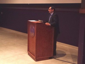 Dr. Munir Jiwa gives presentation on the five media pillars of Islam. Photo courtesy of Allison Birr.