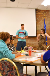 Alyssa Oltmanns and Ethan Cates address LGBTQ+ issues. Photo by Emily Hoffmann.