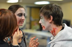 Taylor Remington and Josh Chang prepare for the zombie run last year. Photo by Casey French Photography.