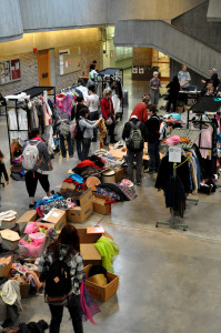 Students search for Halloween costumes at the costume sale in the NFAC earlier this week.