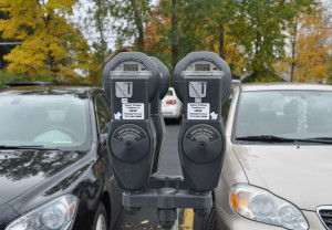 Metered parking serves as another parking options for students on campus. Photo by Emily Hoffmann.