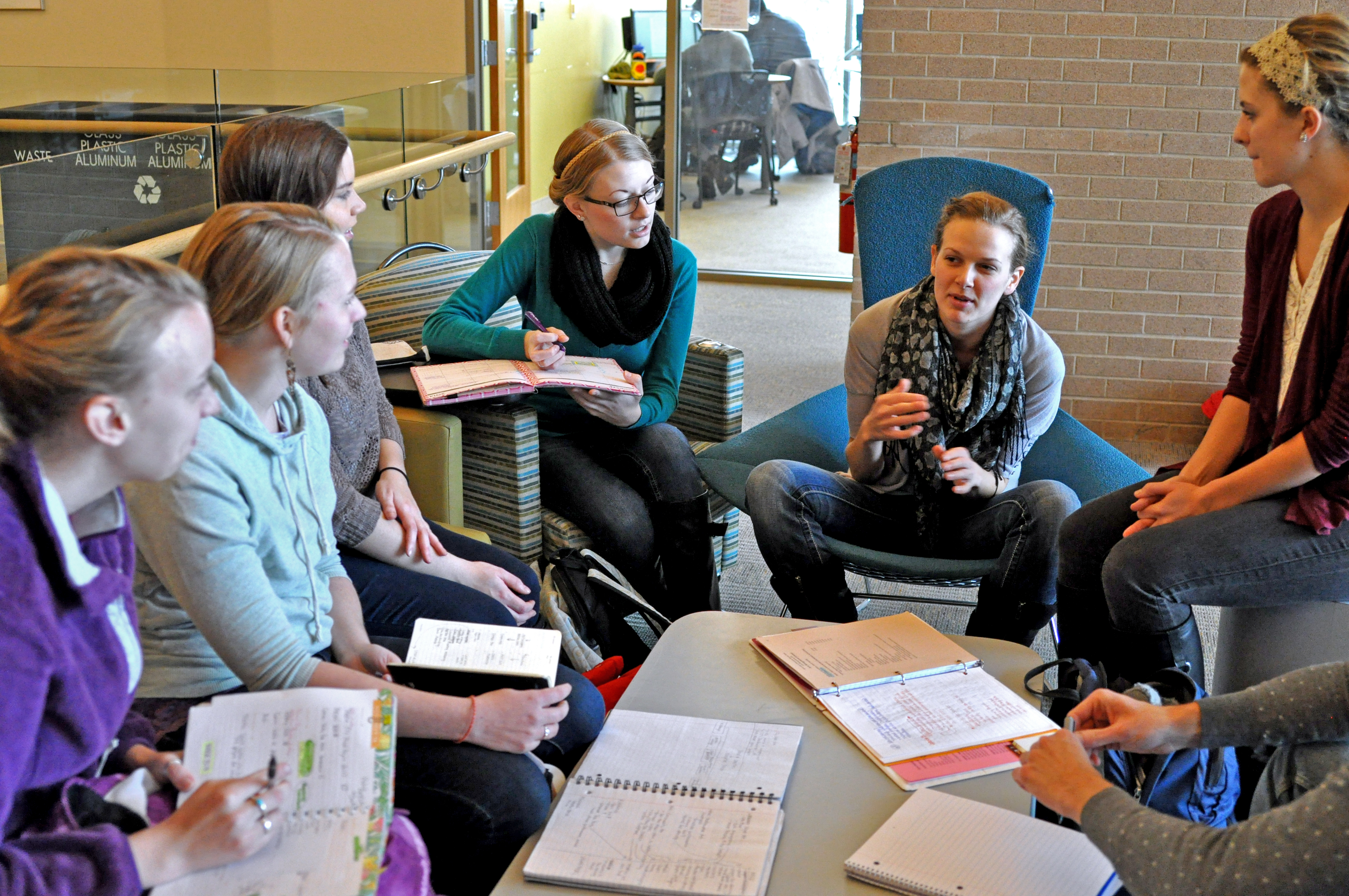 """Students from the arts management seminar 395 plan for """"The Happening. Photo by Emily Hoffmann."""