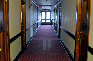 The hallway on the fourth floor of Nelson Hall. Photo by Emily Hoffmann.