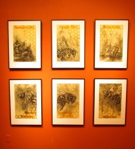 Alexander Landerman's ink, charcoal, crayon on paper pieces are on display. Photo by Allison Birr.