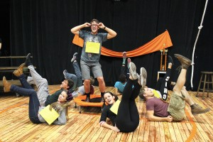 """The cast of """"The 25th Annual Putnam County Spelling Bee"""" rehearses. Photo by Marielle Schuchardt."""