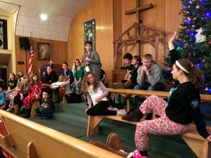 "Rehearsal for ""The Best Christmas Pageant Ever!"" Photo by Kaia Durall."