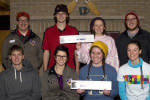 Ryan Kernosky, Evan Brauer, Jillian Behling, and Aaron Gurholt (top row), Zachary Taylor, Kylie Abel, Rebecca Kelble, and Sarah Freier (bottom row) participated in the College Spiel Curling Tournament. Photo courtesy of Rice Lake Curling Club.