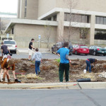 Students plant and mulch in Lot R on campus. Photo courtesy of UWSP SFS's Facebook.