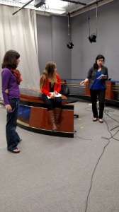 Photo by Jenna Koslowski  Rachel Ellis proposes story ideas for next week's show.