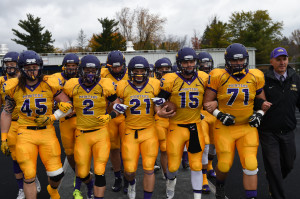 The UWSP football team gathers together at a game.  Courtesy of Jack McLaughlin