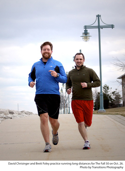 David Chrisinger and Brett Foley practice running long distances for The Fall 50 on Oct. 26. Photo by Transitions Photography.