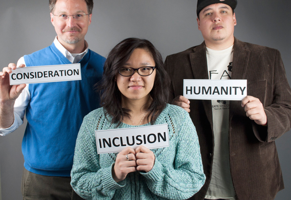 Students and faculty share their steps toward inclusivity. Pictured from left are Tim Klement, Madilynn Moua and Hudson Gauthier. Photo by Samantha Feld.
