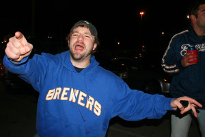 """""""Stand Up for the Movement!"""" proclaimed Jerry Foster, local Brewers fan and  protest leader. Moments later Foster was found laying in his own vomit. Photo courtesy of Miller Park Security."""