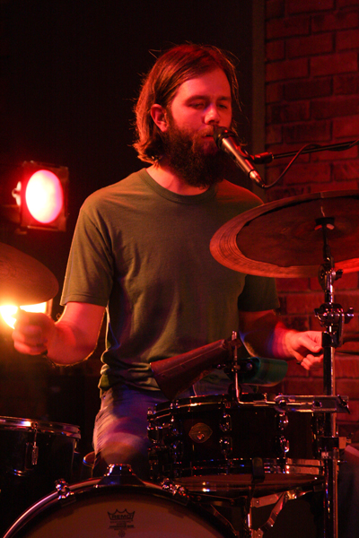 Jesse Edgington, drummer and vocalist for The Daredevil  Christopher Wright, performs at The Encore at UWSP. Photo by Rachel Hanson.