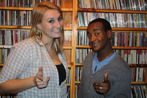 Host, Demitri Smith and co-host, Justine Luther posing after the show. Photo by Emmitt James