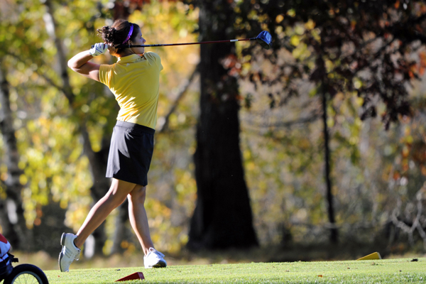Kayla Johnson finished 18th with a three-day 269, at the 2012 Wisconsin Intercollegiate Athletic Conference (WIAC) Championships held at Bull's Eye Country Club. Photo by Jack McLaughlin.