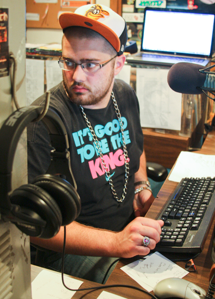 ​DJ Charlie Brown hosts his show 40oz of Hip Hop every Thursday night from 10pm-2am. Photo by Samantha Feld.