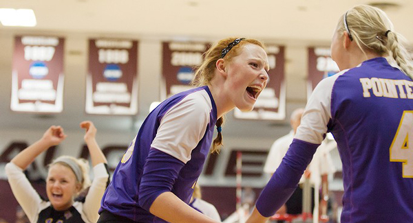 The University of Wisonsin- Stevens Point volleyball team won the two  final games of the University of Wisconsin-Stout tournament. Photo by Caleb Williams/Caleb Williams Photography.