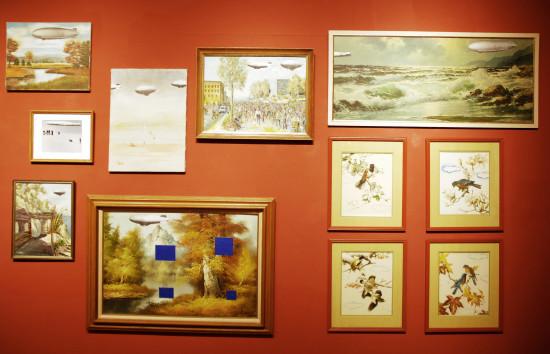 Greene's artwork displayed in the Edna Carlsten Gallery. Photo by Leslie Walfish