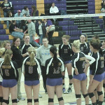 ​UWSP volleyball players huddle pre-game.  Photo by Brian Luedtke