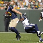 Jordy Nelson evades the St. Louis Secondary as he runs for a 93 yard TD. Photo Courtesy of totalpackers.com