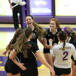 After a winning weekend at home, the UWSP women's volleyball team remains undefeated in their season. Photo by Kylie Bridenhagen.