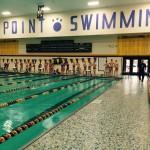 The UWSP swim team prepares for practice at the UWSP  Aquatics Center. Photo by Sydney DenHartigh.