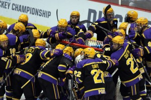 After winning the national championship title last season, the 2016-2017 UWSP men's hockey team begins to prepare for its first game of the season against Aurora University on Oct. 28 at KB Willett Arena in Stevens Point. Photo courtesy of UWSP Athletics.