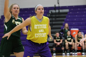 Carly Cerrato initially played volleyball for the Pointers but has switched over to women's basketball and currently plays guard. Photo by Kylie Bridenhagen.