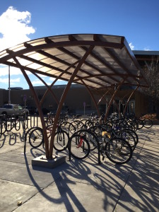 The Green Fund's bike shelter is located outside of the Dreyfus University Center. Photo by Kylie Bridenhagen.