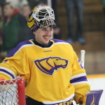 Junior goalie Max Milosek was credited with scoring his first career goal as a Pointer against UW-River Falls on Friday, Dec. 2 at K.B. Willett Arena in Stevens Point, Wis, Photo by Kylie Bridenhagen.
