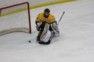 In a 1-0 victory against No. 10 Augsburg College, sophomore goaltender Sydney Conley recorded her first shutout of the season on Friday, Dec. 9 at Ice Hawks Arena. Photo by Kylie Bridenhagen.