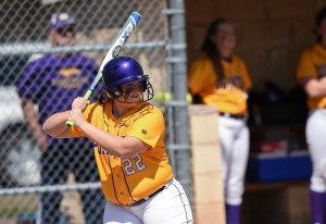 Jen Jacobson waits for the pitch. Photo courtesy of UWSP Athletics.