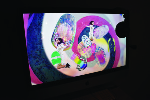 Video art from China showcasing funky nail art in the Carlsten Art Gallery. Photo by Nomin Erdenebileg