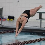 A UWSP swimmer competes at the University of Minnesota Challenge. Photo Courtesy of Kylie Bridenhagen.