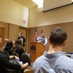 Senator Patrick Testin on campus answering questions from students and faculty. Photo courtesy of Robby Abrahamian