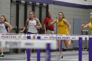 UWSP Women's hurdlers run during their race. Photo courtesy of Dalen Dahl.