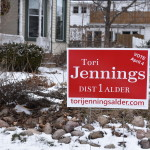 Tori Jennings campaign signs. Photo by Nomin Erdenebileg