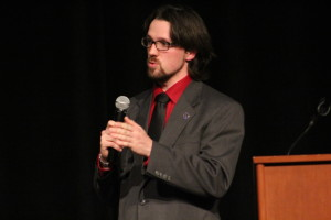 Sean Piette at the SGA Presidential debate. Photo by Samantha Stein