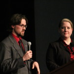 Katie Hansen and Sean Piette at the SGA Presidential debate Mar. 8. Photo by Samantha Stein